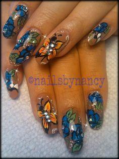 Butterflies and Flowers Nail Art