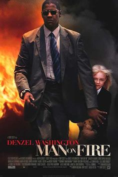 MAN ON FIRE Thriller starring Denzel Washington as John Creasy, a despondent former CIA operative/Force Recon Marine officer turned bodyguard, who goes on a revenge rampage after his charge, nine-year-old Pita Ramos (Dakota Fanning), is abducted in Mexico Film Movie, Film D'action, Bon Film, See Movie, Movie List, Dakota Fanning, Denzel Washington, Movies Showing, Movies And Tv Shows