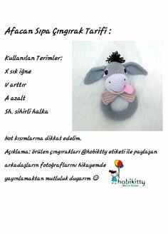 Amigurumi free pattern Afacan sıpa çıngırak tarifi @hobikitty Babu donkey