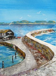 Along the Cobb in mixed media - for more information, check out my website www.dorset-artist.co.uk
