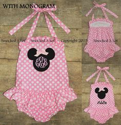 Smocked A Lot Swim Suit Minnie Mouse Pink Polka by SmockedALotBtq
