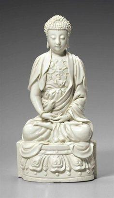 Lot A Dehua figure of Buddha, century. Estimate USD - USD Photo Christie's Image Ltd 2016 Buddha. Jade Buddha Statue, Buddha Statues, Theravada Buddhism, Greek Statues, Divine Mother, Guanyin, China, Buddhist Art, Chinese Art