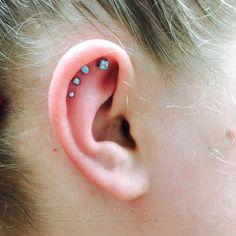 Fashionable stone stud piercing design