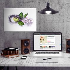 #eye #apple #blossoms #green #pink #graphite #surreal drawing #illustration graphic #spring fruits #nature Illustration