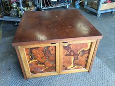 End Table, Teak Inlay from Black Dog Salvage
