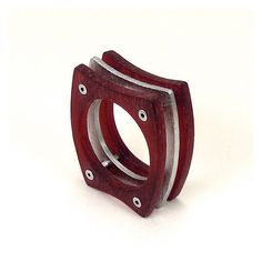 Sterling Silver and Red Resin Riveted Ring - Vitalize by mkwind on Etsy https://www.etsy.com/listing/110678040/sterling-silver-and-red-resin-riveted