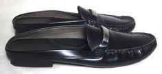 LAUREN Ralph Lauren Womens Leather Black Logo Loafers Flats Slides Mules Size 10 #LAURENRalphLauren #LoafersMoccasins