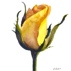 Watercolor #yellowrose #happyvalentinesday #rose #rosebud This video is on #YouTube soon.
