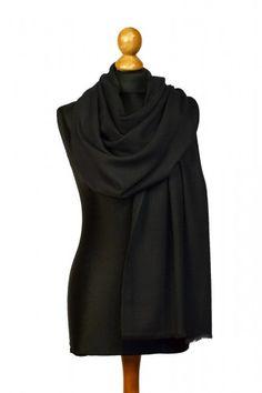 100% Kaschmir Pashmina (70 x 200 cm) in schwarz