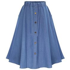 Elastic Waist Denim Flare Skirt With Buttons (€12) ❤ liked on Polyvore featuring skirts, blue, bottoms, saias, pleated maxi skirt, long blue skirt, skater skirt, long pleated maxi skirt and long denim maxi skirt