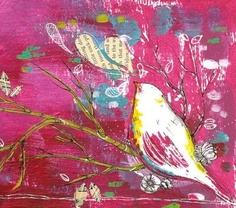 cool bird art - pink. Would love to make something like this for my daughter's room