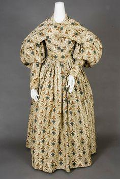 Geometric Printed Cotton Dress & Pelerine, 1830s