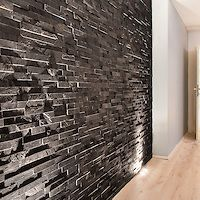 Great for a show wall. Just ideas not sure slate. But any texture at this point. Brazilian Black 3D Stepped Slate wall panel