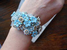Light blue floral wedding bracelet spring bridal by 2007musarra, $89.99