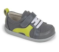 See Kai Run – Johnny in Gray. Bright color and reinforced toe and heel caps make this boys' shoe ideal for racing around the playground.
