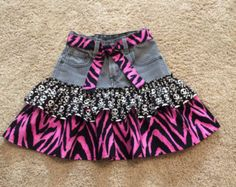 SALE. Upcycled girl's skirt. Sculls and pink animal print girl skirt. Upcycled denim skirt. Goth skirt. Was 26.