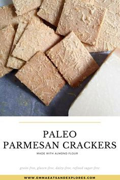 Parmesan Almond Flour Crackers by Emma Eats & Explores Real Food Recipes, Snack Recipes, Dessert Recipes, Paleo Food, Dinner Recipes, Desserts, Healthy Snacks, Healthy Recipes, Healthy Eats