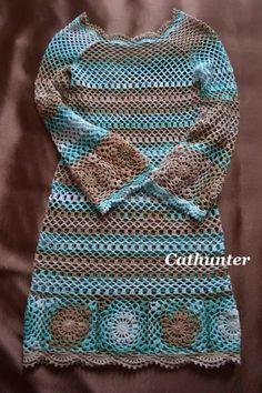 Boho Crochet Dress. Free Pattern!  ༺✿ƬⱤღ http://www.pinterest.com/teretegui/✿༻
