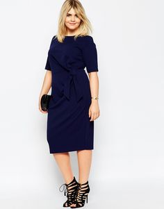 Image 4 ofASOS CURVE Wiggle Dress With Knot Detail
