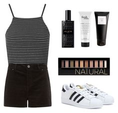 """First set!!/OOTD"" by britney-brit ❤ liked on Polyvore featuring Topshop, philosophy, Eight & Bob, Forever 21, adidas, ootd and firstset"