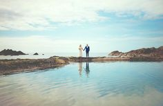 The awesome Amy & Ray on the beach at the Tunnels Beaches, Ilfracombe - an amazing venue too I might add.