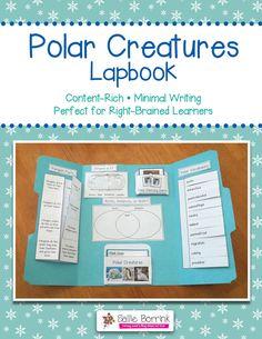 Polar Creatures Lapbook Interactive Notebook - Arctic, Antarctic, Penguins, Polar Bears and more!