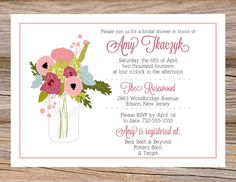 Mason Jar Bridal Shower Invitation ~ Use coupon code PINTEREST15 at checkout for 15% off of your total order! Perfect for a spring or summer wedding!