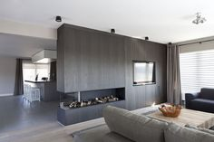 Vakantievilla in de duinen © Remy Meijers Interieurarchitectuur Don't like the color of the wall but like the placement of tv Home Living Room, Interior Design Living Room, Living Spaces, Design Interiors, Kitchen Living, Inspiration Design, Fireplace Design, Open Fireplace, Minimalist Interior