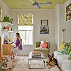 I like the white walls and colored ceiling.  Maybe a good idea for a nursery......
