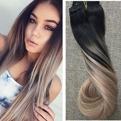 #1B Fading to #18 Ash Blonde Clip Hair 10pcs