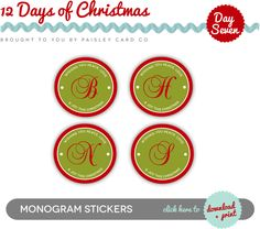 Stephanie Creekmur | A paper boutique specializing in personalization and southern charm: 12 Days of Christmas | Monogram Stickers