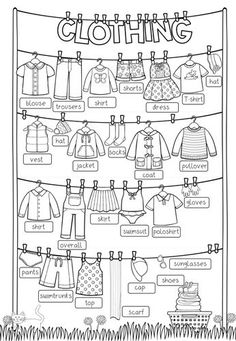 Clothing - Picture Dictionary (filled in + blank) - Englis .- Clothing – Picture Dictionary (Ausgefüllt + blanko) – Englisch – Remedios Ellis Clothing – Picture Dictionary (filled in + blank) – English - English Class, English Lessons, Teaching English, Learn English, English Activities, Activities For Kids, High School Activities, English Words, English Language