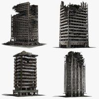 3d Destroyed Ruined Buildings Ruins Post Apocalyptic City Ruined City