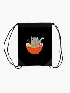 Made from polyester woven fabric Wide, soft drawcord that's easy on your shoulders Durable quality metal grommets Long-lasting printed design on both front and back Backpack Bags, Drawstring Backpack, Ramen Bowl, Buy A Cat, Woven Fabric, Cat Lovers, Kawaii, Purses