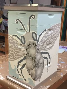 *inspiration* My Bee Box painted by Marion Moore from Taos Tinworks in Taos, New Mexico. Bee Hives Boxes, Bee Boxes, Buzz Bee, I Love Bees, Bee Friendly, Bee Art, Painted Boxes, Hobby Farms, Save The Bees