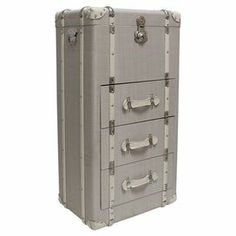 """3 drawer vintage-inspired trunk, crafted from wood and upholstered in beige linen. Dimensions: 41.5"""" H x 20.5"""" W x 14.5"""" D"""