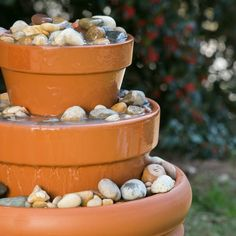 Learn how to make this soothing outdoor water fountain for your backyard using terra cotta pots. We have the step-by-step tutorial.