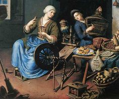 The Spinner by Willem van Mieris