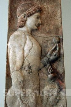 Greek art. Archaic era. Greece. Funerary stele. 530 BC. Marble. Probably comes from Athens. Young athlete with a grenade in his hand and an aryballos hung from his wrist. Beside him, a little girl. Possibly belonged to an important aristocratic family. Metropolitan Museum of Art. New York. United States.