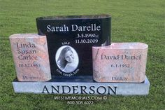 Anderson With Marker & Photo Headstone in Black and Pink Granite