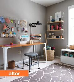 Exact position of the desk and window of my sewing room. Great inspiration for storage and decor.