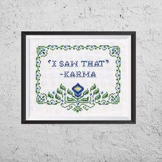 I Saw That - Karma - Modern Cross Stitch PDF - Instant Download