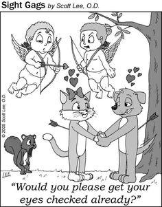 Cupid eye exam - cat and dog love