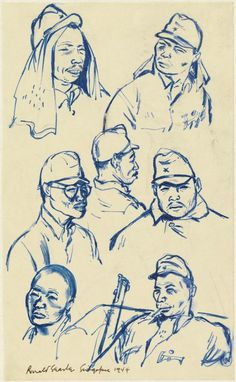 Japanese Soldiers, Singapore 1944. Seven portrait heads of Japanese soldiers. Catalogue number: Art.IWM ART 15747 124 © Ronald Searle 1944, by kind permission of the artist and The Sayle Literary Agency