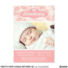 PRETTY PINK FLORAL PATTERN | BIRTH ANNOUNCEMENT
