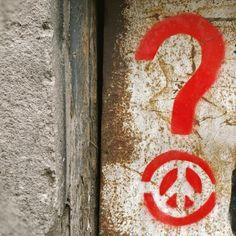 Peace Question Mark #red #redpaint #redspraypaint #redpeacesign #graffiti #streetart #urbanart #streetarteverywhere #visualarts #instapic #instaphoto #stencilart #stencil #peace #peacesign #question #questionmark #sign #rotterdam