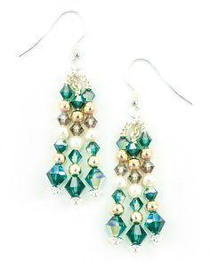 Silver Drop Earrings with Vintage & Swarovski Crystals – JitterbugJewellery