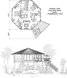 , 3 Bedrooms, 2 Baths, Piling Collection by Topsider Homes Round House Plans, Small House Plans, House Floor Plans, Earthship Plans, Cabin Design, House Design, Ideas De Cabina, Octagon House, Bungalow
