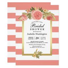 #invitations #wedding #bridalshower - #Pink Stripes | Roses & Gold Floral Bridal Shower Card