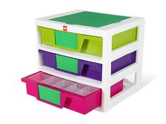 LEGO® Girls 3-Drawer Storage Bin // For girls! Because if boys or gender-variant kids got this their gender would change. That's how gender works y'know -pixypi